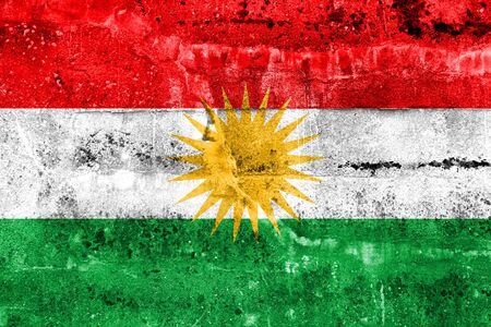 Flag of Kurdistan, painted on dirty wall Stock Photo
