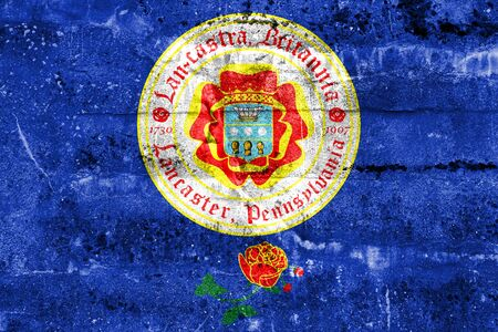 Flag of Lancaster, Pennsylvania, USA, painted on dirty wall