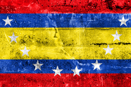 loja: Flag of Loja Province, Ecuador, painted on dirty wall Stock Photo