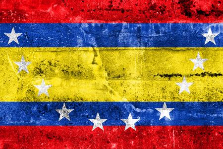 Flag of Loja Province, Ecuador, painted on dirty wall Stock Photo