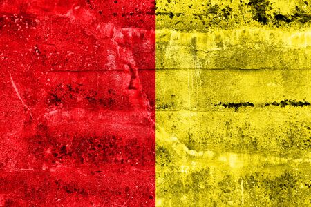 Flag of Liege, Belgium, painted on dirty wall