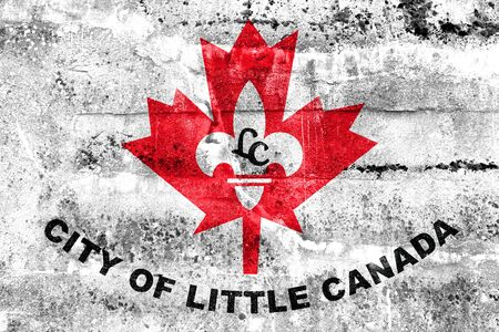 Flag of Little Canada, Minnesota, USA, painted on dirty wall Stock Photo