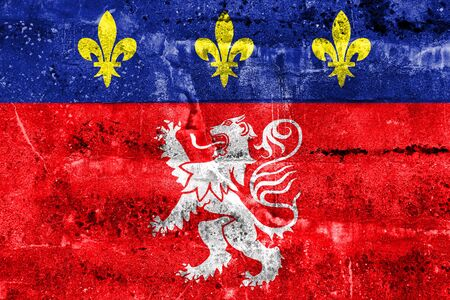 polity: Flag of Lyonnais, France, painted on dirty wall Stock Photo