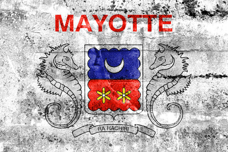 mayotte: Flag of Mayotte, France, painted on dirty wall Stock Photo