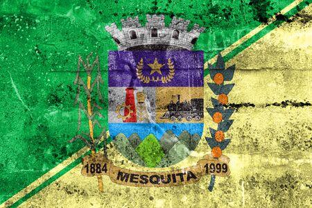 Flag of Mesquita, Rio de Janeiro, Brazil, painted on dirty wall Imagens