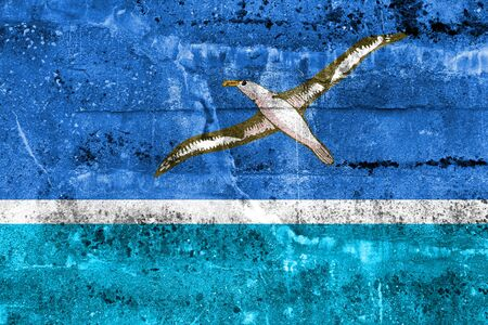 unofficial: Flag of Midway Atoll (unofficial), painted on dirty wall Stock Photo