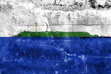 unofficial: Flag of Navassa Island (unofficial, disputed), painted on dirty wall