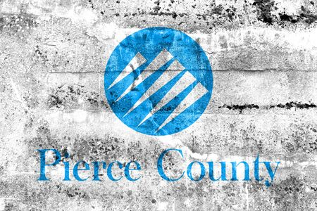 pierce: Flag of Pierce County, Washington, USA, painted on dirty wall Stock Photo