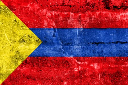 Flag of Pasto, Colombia, painted on dirty wall Stock Photo