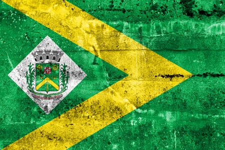 Flag of Santa Barbara dOeste, Sao Paulo, Brazil, painted on dirty wall