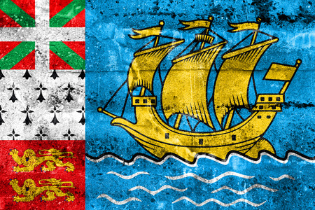 unofficial: Flag of Saint Pierre and Miquelon (unofficial), painted on dirty wall