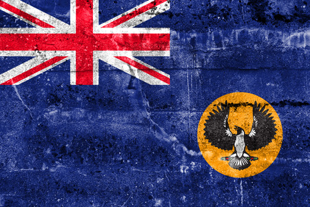 territory: Flag of South Australia State, Australia, painted on dirty wall Stock Photo