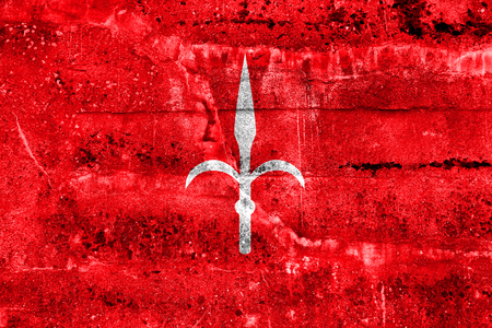 Flag of Trieste, Italy, painted on dirty wall Stock Photo