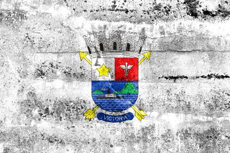 vitoria: Flag of Vitoria, Espirito Santo, Brazil, painted on dirty wall