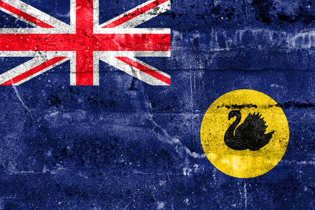 western state: Flag of Western Australia State, Australia, painted on dirty wall Stock Photo