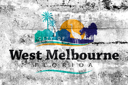 Flag of West Melbourne, Florida, USA, painted on dirty wall
