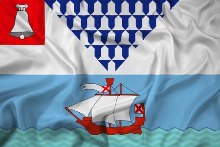 northern ireland: Waving Flag of Belfast, Northern Ireland, UK Stock Photo