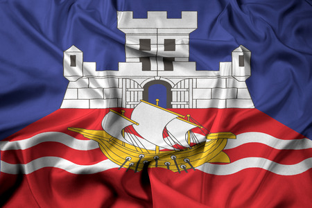 belgrade: Waving Flag of Belgrade, Serbia Stock Photo