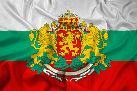 polity: Waving Flag of Bulgaria with Coat of Arms Stock Photo
