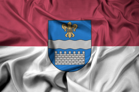 Waving Flag of Daugavpils, Latvia