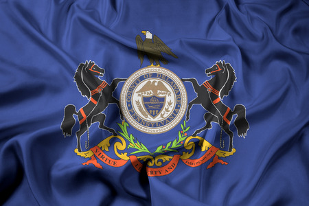 Waving Flag of Delaware County, Pennsylvania, USA Stock Photo
