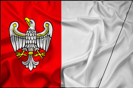 greater: Waving Flag of Greater Poland Voivodeship, Poland Stock Photo