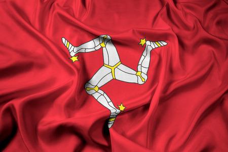 Waving Flag of Isle of Man Stock Photo