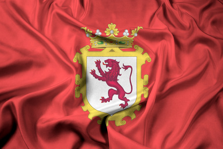 Waving Flag of Leon, Spain Stock Photo