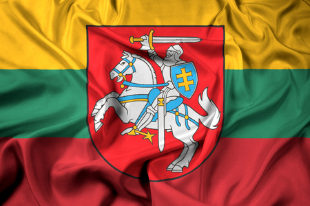 Waving Flag of Lithuania with Coat of Arms