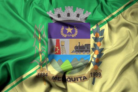 Waving Flag of Mesquita, Rio de Janeiro, Brazil Imagens - 63626735