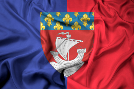 escutcheon: Waving Flag of Paris with Coat of Arms (Escutcheon only), France