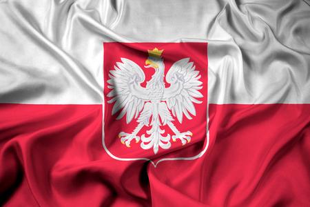 bandera de polonia: Bandera que agita de Polonia con el escudo de armas