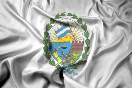 Waving Flag of Rosario, Santa Fe, Argentina Stock Photo