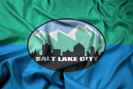 salt lake city: Waving Flag of Salt Lake City, Utah, USA Stock Photo