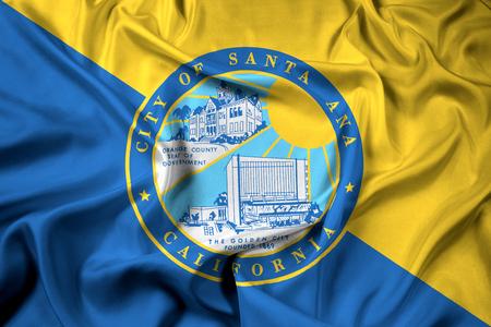 Waving Flag of Santa Ana, California, USA