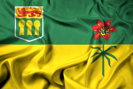 saskatchewan flag: Waving Flag of Saskatchewan Province, Canada Stock Photo