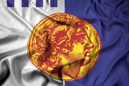 Waving Flag of Thessaloniki, Greece
