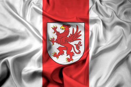 Waving Flag of West Pomeranian Voivodeship, Poland Stock Photo