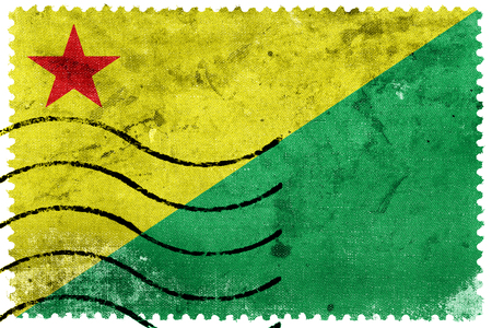 acre: Flag of Acre State, Brazil, old postage stamp