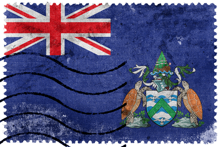 canada stamp: Flag of Ascension Island, Canada, old postage stamp