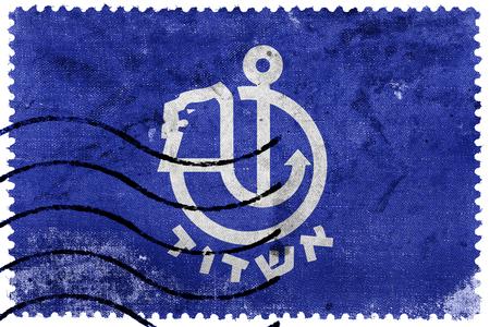 ashdod: Flag of Ashdod, Israel, old postage stamp
