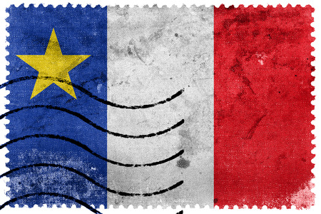 canada stamp: Flag of Acadia, Canada, old postage stamp Stock Photo