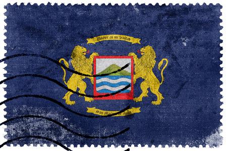 postage stamp: Flag of Arica, Chile, old postage stamp Foto de archivo