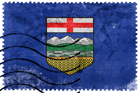 canada stamp: Flag of Alberta Province, Canada, old postage stamp Stock Photo