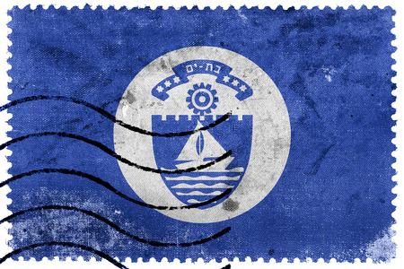 yam israel: Flag of Bat Yam, Israel, old postage stamp Stock Photo