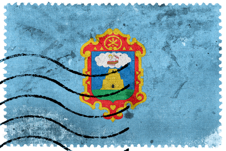 sello postal: Flag of Ayacucho, Peru, old postage stamp Foto de archivo