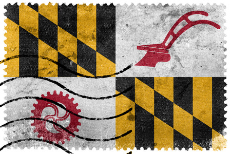 maryland: Flag of Baltimore County, Maryland, USA, old postage stamp Stock Photo