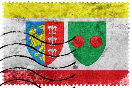 Flag of Bielsko Biala, Poland, old postage stamp