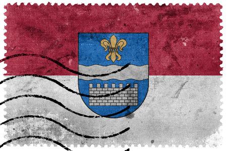 sello postal: Flag of Daugavpils, Latvia, old postage stamp