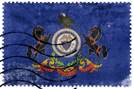 Flag of Delaware County, Pennsylvania, USA, old postage stamp Stock Photo